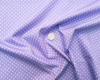 Rose & Hubble 100% Cotton Poplin Fabric - 3mm Polkadot Spot - Lilac - Dressmaking , Quilting, Craft Material