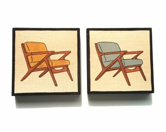 Small paintings on Wood, Set of TWO Mid Century Design Art Blocks