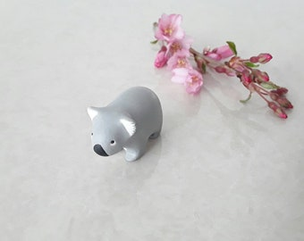 Tiny koala miniature handmade hand painted polymer clay animal figurine totem sculpture ornament