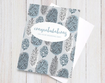 Wedding Card Congratulations, Pinecone Wedding Card, Wedding Day Card, Congrats Card, Blue Grey Blank Nuptials Greeting Card