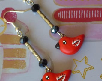 Silver 925 earrings with a red kawaii bird made with polymer clay and beads