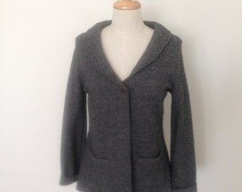 Ladies boiled wool shawl neck jacket