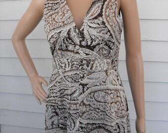Hippie Maxi Dress Vintage 70s 1970s Metallic Brown Print Sleeveless Long Mr B S