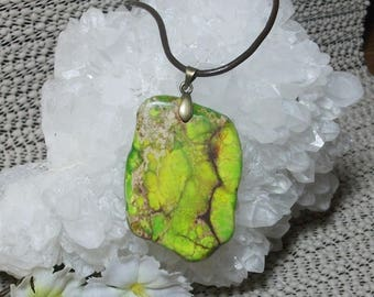 Gaspeite Gemstone Pendant Leather Cord Necklace - New Age rare Vision Stone, Reiki Wicca Pagan handmade jewelry  ~Et375