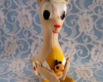 Vintage Dakin Dream Pets Kangaroo Mama with Baby Circa 1960s