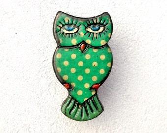 Vintage polkadot owl brooch (early plastic) #01