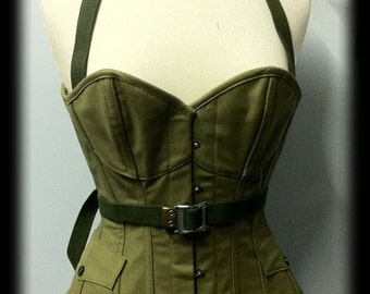 Military steel boned over bust corset and collar - custom listing Tracy Hamilton