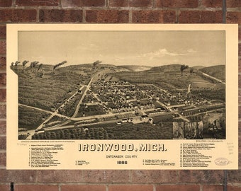 Vintage Ironwood Photo, Ironwood Map, Aerial Ironwood Photo, Old Ironwood Map, Ironwood Artist Rendering, Ironwood Poster, MI Artwork