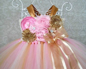 Pink and Gold Birthday Tutu Dress, Pink and Gold 1st Birthday Dress, Pink and Gold Flower Girl Dress