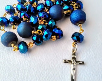 Metallic Blue Faceted Crystal and Agate Anglican Rosary / Protestant Rosary / Prayer Beads