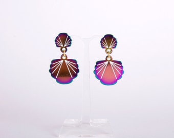 rainbow metal mermaid's sea shells earrings