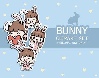 Clipart Set | Pink BUNNY Printable sticker Clip Art Hand Drawn