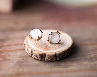 White earring studs, Clothing gift for her, Beauty gift for girlfriend, White tulip earrings, Rustic stud earrings, white flower earrings