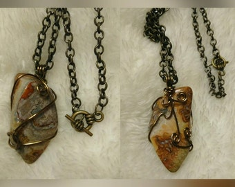 2-Sided Crazy Lace Agate Pendant