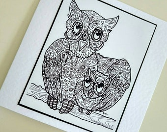 Owl Love You handmade fine art card from original owl drawing by Bee Skelton. Any occasion birthday gift anniversary thank you