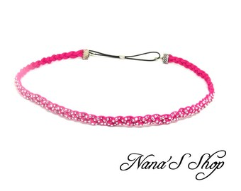 Braided suede headband, pink fuchsia, Rhinestones,.