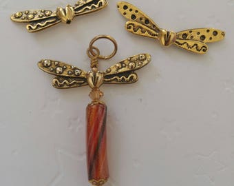 DISCONTINUED *** Gold Tone Dragonfly Wings Component by Penny Michelle