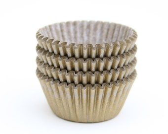 MINI Gold Cupcake Liners, Mini Gold Holiday Cupcake Liners, New Year's Eve Matte Gold Liners (60)