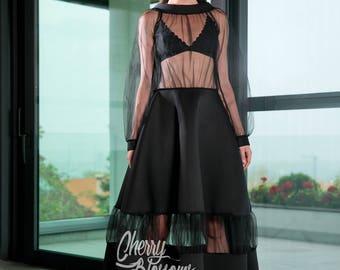 Black Maxi dress/ Extravagant dress/ Long Black dress/ Party dress/ Holiday dress/ Neoprene dress/ Dressing Gown