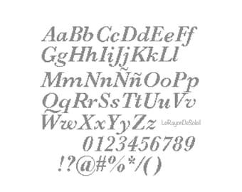 Cross stitch pattern font Baskerville alphabet, PDF Instant download.