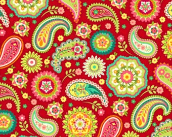 Piccadilly Lane Paisley Red 1 Yard