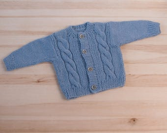 Light blue baby hand knitted wool newborn cardigan clothes kids knit cardigan Baby boy kids cardigan baby boys jacket clothes
