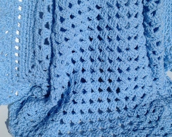 Blue Granny Square Baby Blanket