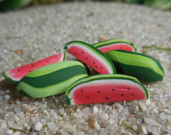Miniature Watermelon Slices Fairy Accessory ~ Tiny Watermelon for Fairies ~ Mini Dollhouse Fruits ~ Miniature Garden Fruit for Fairies