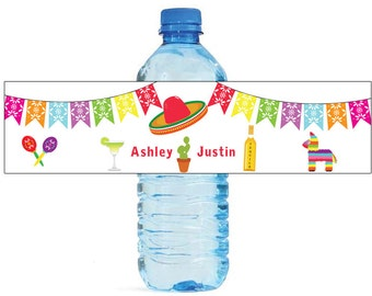 Mexican Fiesta Wedding / Birthday Water Bottle Labels Great for Engagement Bridal Shower Party easy to apply and use