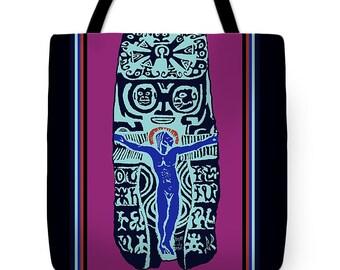 Paul Gauguin Crucifix Designer Tote Bag Gift - Gauguin Crucifix Folk Art Throw Pillow - ReUsable Grocery Tote Bag - Tribal Decor Pillow