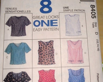 McCalls Pattern 8404 - Semi-fitted top with eight great looks in one pattern  Size12 14 16