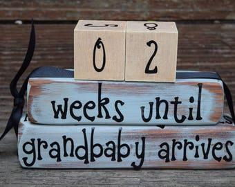 Vintage Grandparent Countdown Block Set/Weeks Until We're Grandparents/New Baby Countdown  -  blue