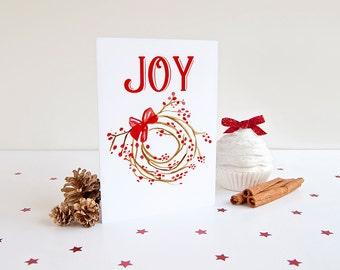 "JOY Christmas Card Set - Watercolor Greeting Card - Happy Holidays ""Berry Wreath"" Holiday Greeting Card - Season's Greetings Merry Christmas"