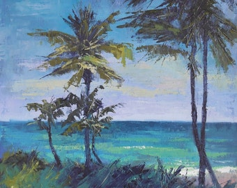 "Impressionist Tropical Landscape, Florida Painting , Palm Tree Painting , Jupiter Island by Carol Schiff, 12x12x1.5"" Oil"