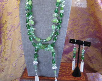 Viking Lagertha II green and silver lariat necklace and earring set