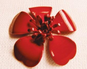 Vintage Scarlet Enamel Flower Brooch/ 1960s Flower Brooch