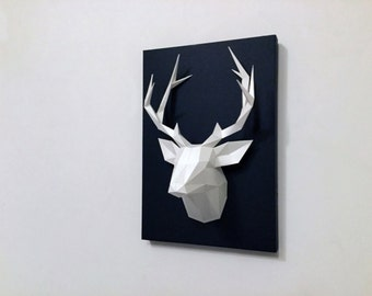 Low poly geometric paper deer trophy