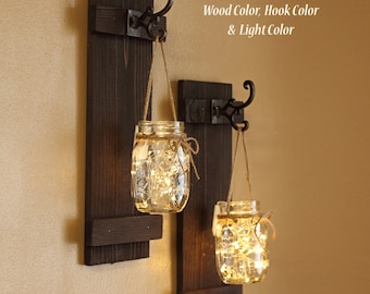 Mason Jar Wall Sconces, Home Decor, Lighted Sconces, Wall Hangings, Rustic  Gifts