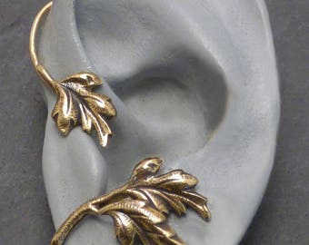 Leaf  Ear Wrap - SYLVAN - Brass Ear Cuff Wrap