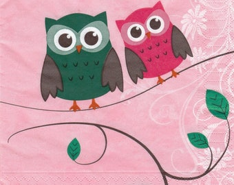 295 COUPLE of owls pattern X 1 4 X 4 pattern lunch size paper towel