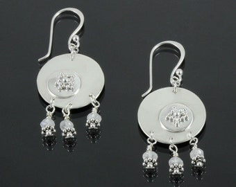 Handmade Sterling Silver Moon and Stars Earrings with Natural Moonstone