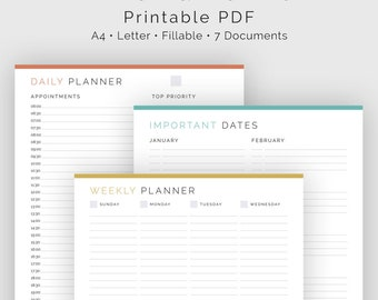 Time Planner Kit (7 documents) - Fillable - Printable PDF - Time Management, Productivity Planner - Business Planner - Instant Download