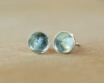Sky Blue Topaz Gemstone 6mm Bezel Set on Niobium or Titanium Posts (Hypoallergenic Stud Earrings for Sensitive Ears)