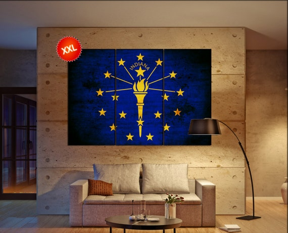indiana state flag  canvas indiana state flag wall decoration indiana state flag canvas art indiana state flag large canvas