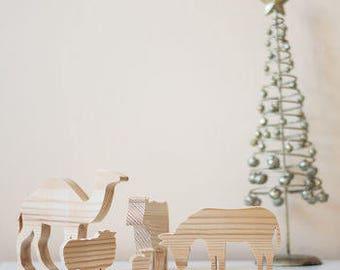 Wooden Nativity Animal Ornaments