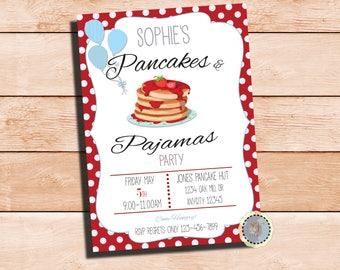 Strawberry Pancakes & Pajama Party Invite