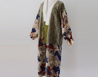 Kimono Japanese Vintage crazy patchwork juban kanji アンティーク着物 クレイジー マルチパターン 50~60年代 ジャパンヴィンテージ