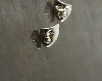 Comedy & Tragedy stud earrings in 925 Sterling silver.  Approx 2 cm in top to bottom