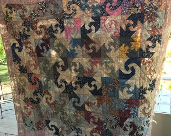 Early 1900's hand stitched feedsack fabric rough around the edges needs some tlc heavy hand made turn of the century quilt farmhouse