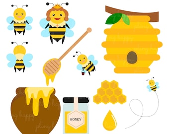 70% OFF Happy Bee Cliparts, Happy Bee Clipart Graphics, Personal & Small Commercial Use, Instant Download